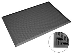 ESD floor mat black, dimensions as required, flat studs