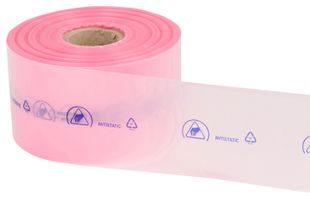 ESD tubular film pink permanently conductive, roll, 250 m x 100 mm, thickness 0.09 mm
