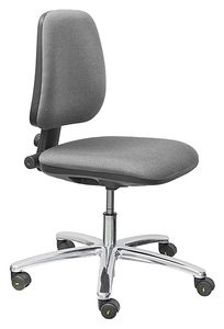 ESD Chair BASIC, with castors, fabric anthracite, permanent contact