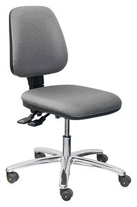 ESD chair COMFORT, with castors, fabric anthracite, permanent contact