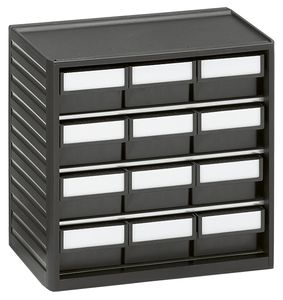 ESD small parts magazine, 12 drawers, 310x180x290 mm