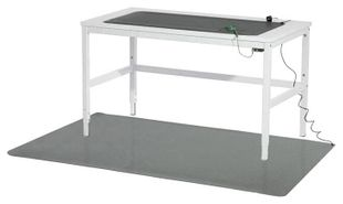 ESD workstation set, table mat, grey, 610 x 1220 x 2 mm incl. accessories
