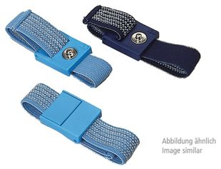 ESD Bracelet, light blue, 10 mm snap fastener