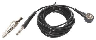 ESD ground cable, 10 mm push button/banana plug, L = 3 m