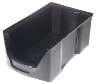 ESD open fronted storage bin, conductive, black, round corners, 175x100x75 mm