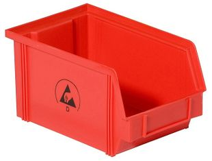 ESD visible storage box IDP-STAT, conductive, red, 350x200x145 mm