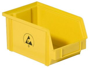 ESD visible storage box IDP-STAT, conductive, yellow, 350x200x145 mm