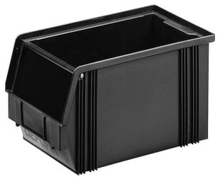 ESD storage bin, black 350 x 200 x 200 mm